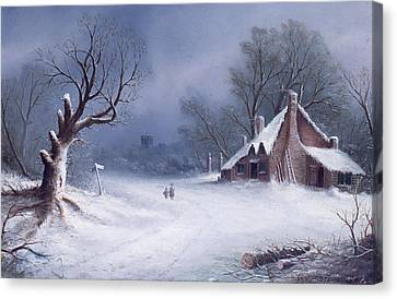 Ice Figures Canvas Print - The Road To The Church by GB MacDonald