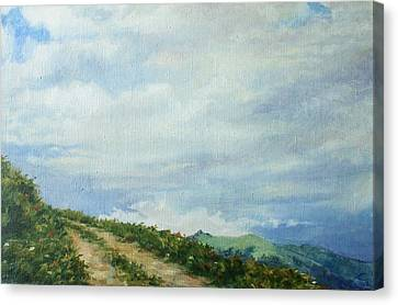 Canvas Print featuring the painting The Road To The Mountain by Tigran Ghulyan