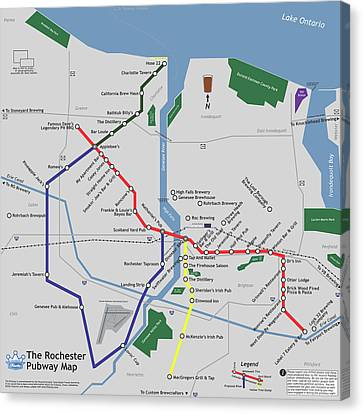 Finger Lakes Canvas Print - The Rochester Pubway Map by Unquestionable Taste