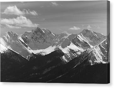 Canvas Print featuring the photograph The Rockies - B/w by Josef Pittner