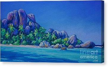 The Rocks On La Digue  Panoramic Canvas Print by John Clark