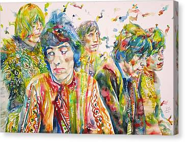 Canvas Print featuring the painting The Rolling Stones - Watercolor Portrait by Fabrizio Cassetta