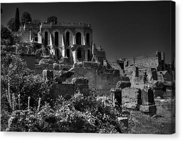 Canvas Print featuring the photograph The Roman Forum 001 Bw by Lance Vaughn