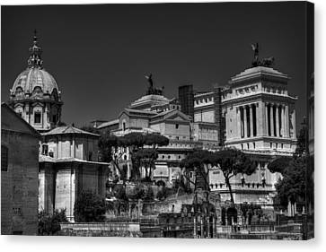 Canvas Print featuring the photograph The Roman Forum 002 Bw by Lance Vaughn