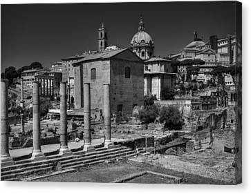 Canvas Print featuring the photograph The Roman Forum 003 Bw by Lance Vaughn