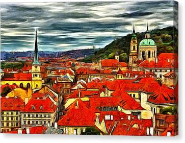 The Rooftops Of Prague  Canvas Print