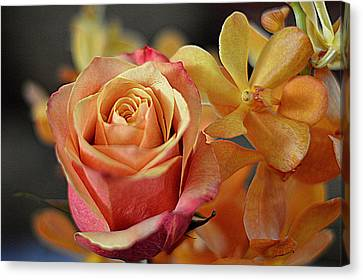 Canvas Print featuring the photograph The Rose And The Orchid by Diana Mary Sharpton