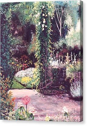 The Rose Covered Column Canvas Print by Cynthia Sorensen