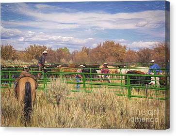 The Round Up Canvas Print by Janice Rae Pariza