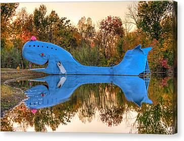 Canvas Print featuring the photograph The Route 66 Blue Whale - Catoosa Oklahoma by Gregory Ballos