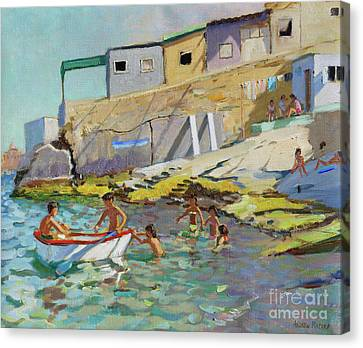 The Rowing Boat, Valetta, Malta Canvas Print by Andrew Macara