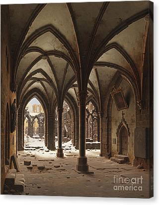 The Ruins Of The Monastery Walkenried In Winter Canvas Print by Celestial Images