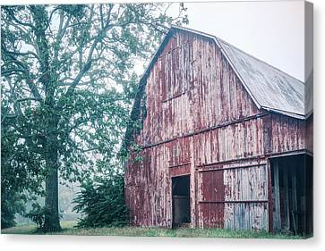 The Rural Life - Red Barn Landscape Canvas Print by Gregory Ballos