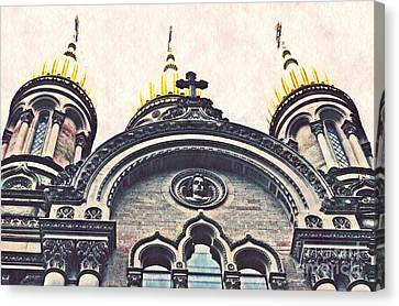 The Russian Church In Wiesbaden Canvas Print by Sarah Loft