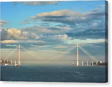 Vladivostok Canvas Print - The Russky Bridge And Clouds by Mariia Kalinichenko