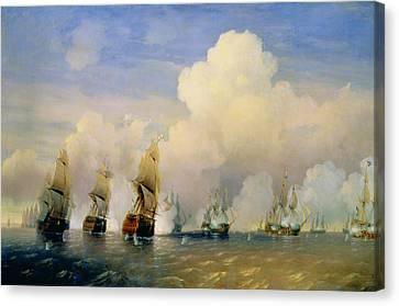 The Russo Swedish Sea War Near Kronstadt In 1790  Canvas Print by Aleksei Petrovich Bogolyubov