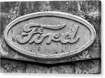 The Rusty Ford Emblem Black And White Canvas Print by JC Findley