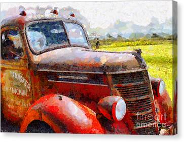 Old American Truck Canvas Print - The Rusty Old Jalopy . 7d15509 by Wingsdomain Art and Photography