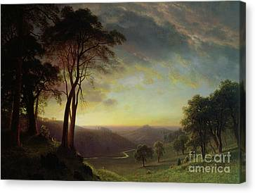The Sacramento River Valley  Canvas Print by Albert Bierstadt