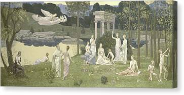 The Sacred Grove, Beloved Of The Arts And The Muses Canvas Print by Pierre Puvis de Chavannes