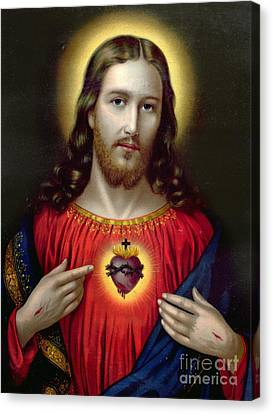 Mix Media Canvas Print - The Sacred Heart Of Jesus by English School
