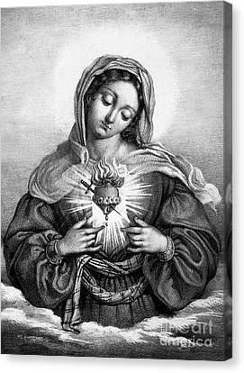 The Sacred Heart Of Mary Canvas Print by French School