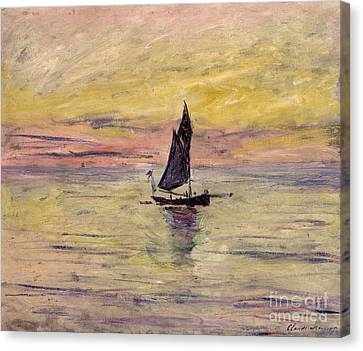 Setting Canvas Print - The Sailing Boat Evening Effect by Claude Monet