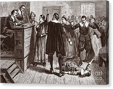 Colonial Man Canvas Print - The Salem Witch Trials by American School