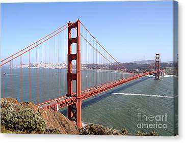 Canvas Print featuring the photograph The San Francisco Golden Gate Bridge 7d14507 by Wingsdomain Art and Photography