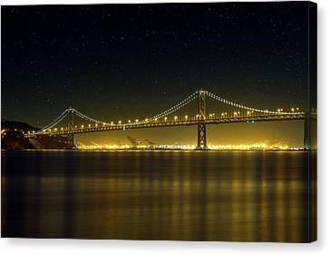 Canvas Print - The San Francisco Oakland Bay Bridge At Night by David Gn