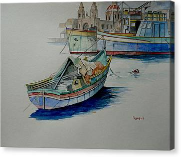 Canvas Print featuring the painting The San George by Ray Agius