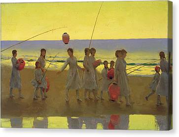 The Sand Bar  Canvas Print by Thomas Cooper Gotch