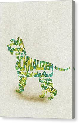 Canvas Print featuring the painting The Schnauzer Dog Watercolor Painting / Typographic Art by Inspirowl Design
