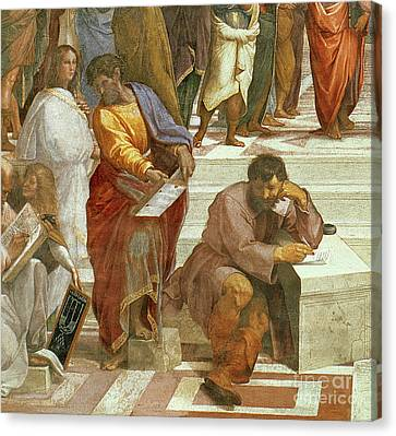 Greek School Of Art Canvas Print - The School Of Athens, Detail Of The Figures On The Left Hand Side by Raphael