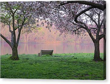 Kelly Drive Canvas Print - The Schuykill River At Kelly Drive In The Spring by Bill Cannon