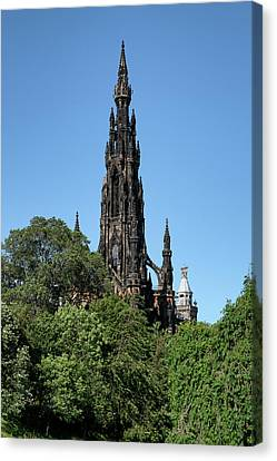Canvas Print featuring the photograph The Scott Monument In Edinburgh, Scotland by Jeremy Lavender Photography
