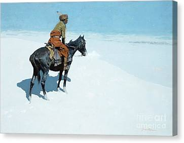 Snow-covered Landscape Canvas Print - The Scout Friends Or Foes by Frederic Remington