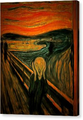The Scream By Edvard Munch Revisited - Da Canvas Print by Leonardo Digenio