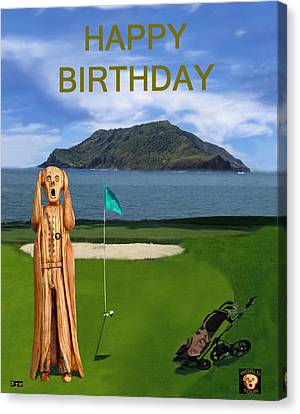 The Scream World Tour Golf  Happy Birthday Canvas Print by Eric Kempson