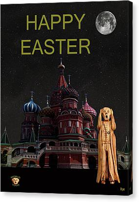 The Scream World Tour Moscow Happy Easter Canvas Print by Eric Kempson