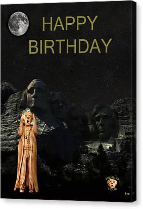 The Scream World Tour Mount Rushmore Happy Birthday Canvas Print by Eric Kempson