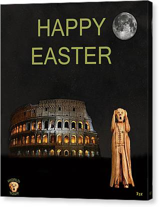 The Scream World Tour Rome Happy Easter Canvas Print by Eric Kempson