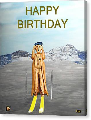 The Scream World Tour Skiing Happy Birthday Canvas Print by Eric Kempson