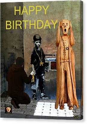 The Scream World Tour Street Art Happy Birthday Canvas Print