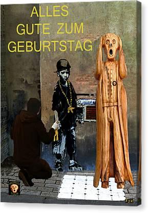 The Scream World Tour  Street Art Happy Birthday German Canvas Print