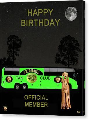 The Scream World Tour Tennis Tour Bus Happy Birthday Canvas Print by Eric Kempson