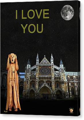 The Scream World Tour Westminster Abbey I Love You Canvas Print by Eric Kempson
