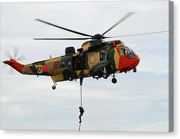 The Sea King Helicopter Of The Belgian Canvas Print by Luc De Jaeger