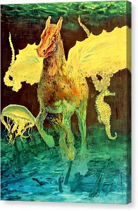 Canvas Print featuring the painting The Seahorse by Henryk Gorecki