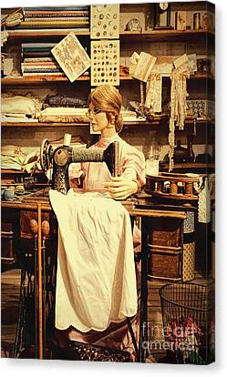 The Seamstress At Work Canvas Print by Priscilla Burgers